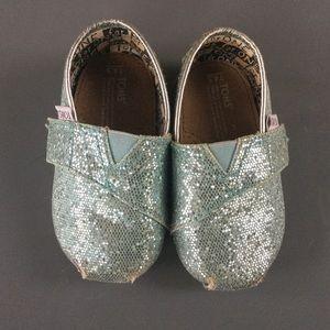 Blue sparkly toddler Toms